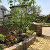 曲線ラインが美しい植栽スペース